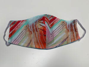 Hand-sewn mask - painted lines and drips