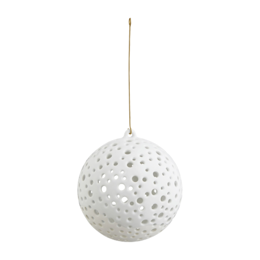 Kähler Nobili Round Ceramic Hanging Tealight Holder 12cm White