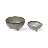 Broste Nordic Sea Stoneware Set of 2 Small Bowls With Feet