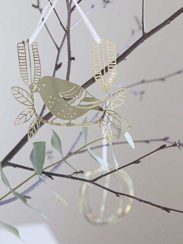 Pluto Hanging Decoration Gold Sparrow on Branch