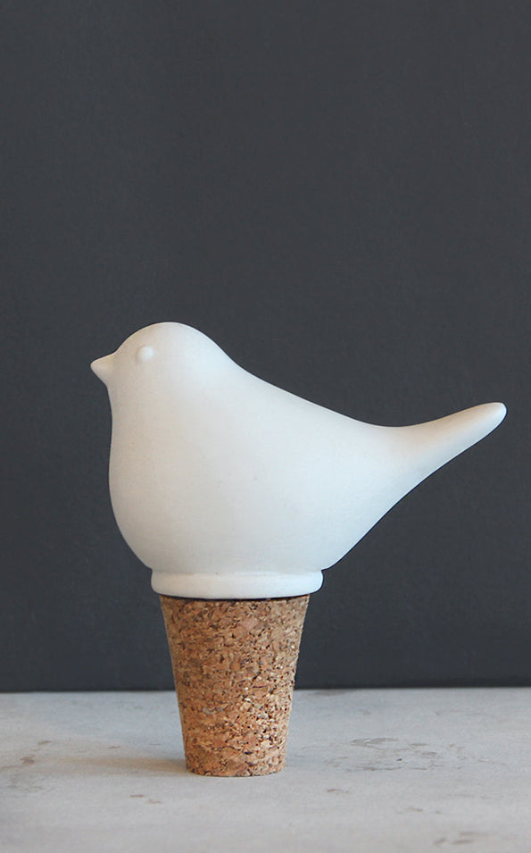 Pluto  Cermic Bottle Stopper Bird White