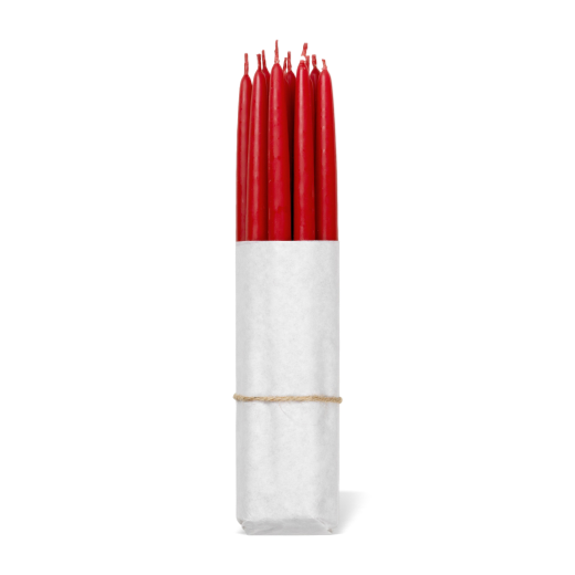 Broste Set of 10 Hand Dipped Tapers 12mm Red
