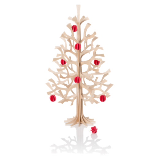 Lovi Spruce Tree 30cm Natural Wood With Red Mini Baubles