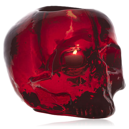 Kosta Boda Still Life Skull Votive: Coloured: Red