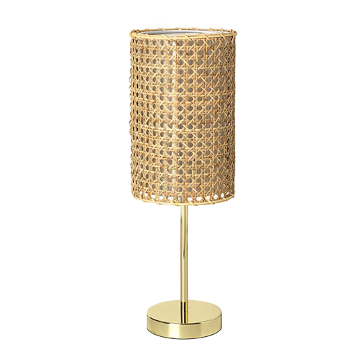 Broste Rattan and Brass Finish Ruben Table Lamp