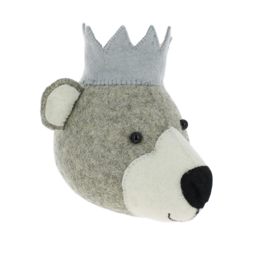 Fiona Walker Mini Felt Baby Bear Head With Crown