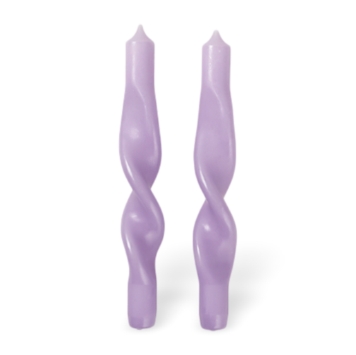 Broste Set of 2 Twisted Candles Light Purple