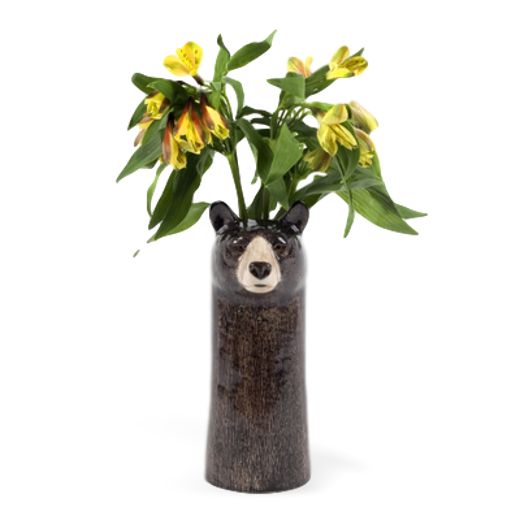 Quail Designs Black Bear Tall Flower Vase