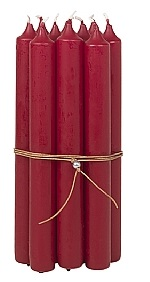 Broste Bundle of 10 Candles Red With Leather String 2.2 x 19.4cm