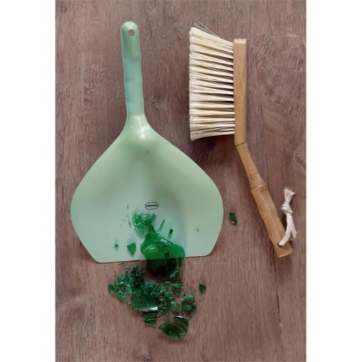 Capventure Bamboo & Metal Dustpan & Brush Vintage Green