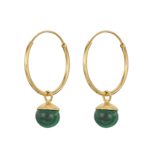 Pernille Corydon Malachite Hoop Earrings Gold