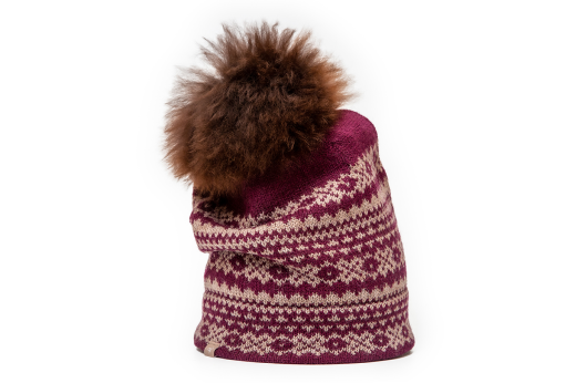 Samantha Holmes Alpaca Fair Isle Pom Pom Hat Red