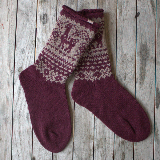Samantha Holmes Alpaca Fair Isle Socks Red