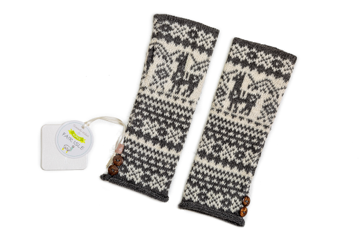 Samantha Holmes Alpaca Fair Isle Fingerless Gloves Stone