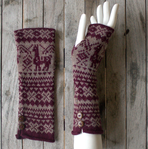 Samantha Holmes Alpaca Fair Isle Fingerless Gloves Red