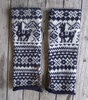 Samantha Holmes Alpaca Fair Isle Fingerless Gloves Indigo