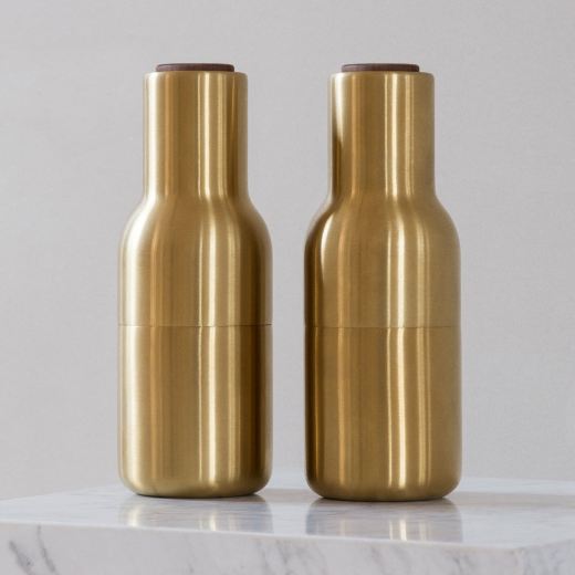 Menu Bottle Grinder 2 Pack Brushed Brass Walnut Lid