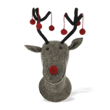 Fiona Walker Felt Reindeer Head With Red Pom Poms