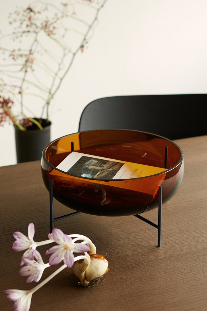 Menu Échasse Bowl Amber and Bronzed Brass Large