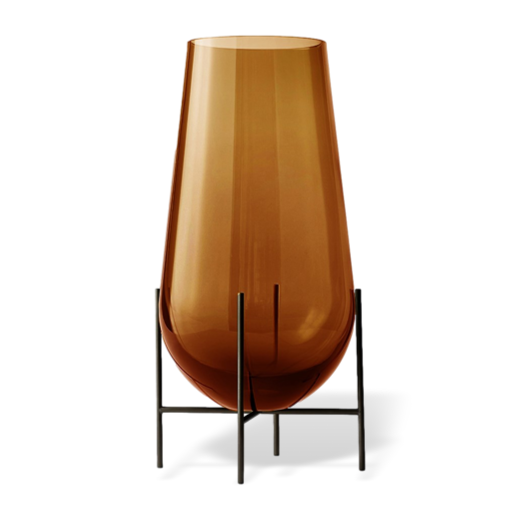 Menu Échasse Vase Amber and Bronzed Brass Small
