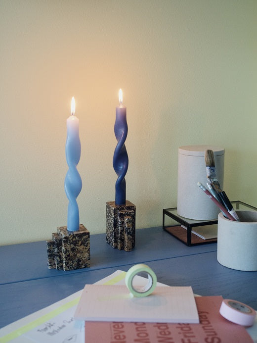 Broste Set of 2 Twisted Candles Light Blue