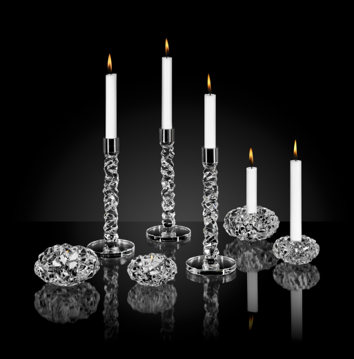 Orrefors Carat Candlesticks Brushed Steel - Pair