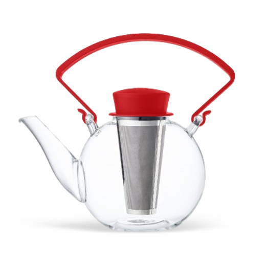 QDO Glass Teapot Red Handle