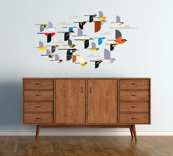 Charley Harper Flock of Birds Wall Stickers