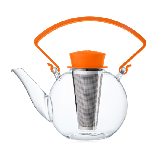 QDO Glass Teapot - Orange Handle