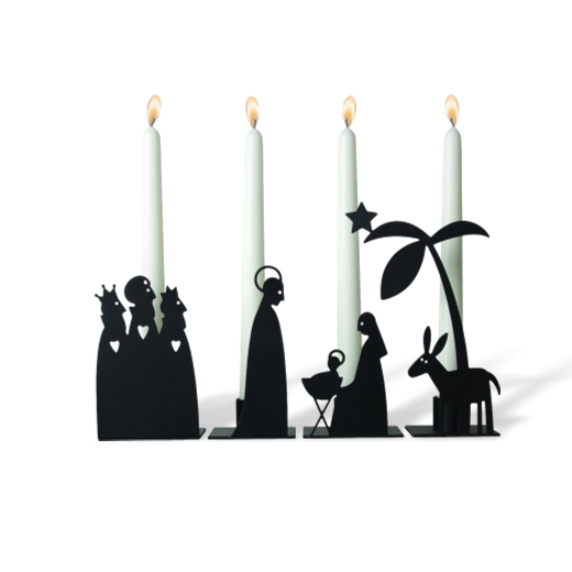 Pluto Metal Nativity Candleholder Set