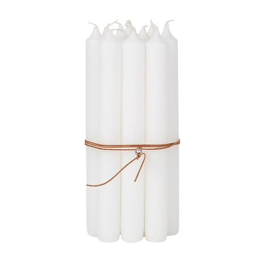 Broste Bundle of 10 Candles White With Leather String 2.2 x 19.4cm