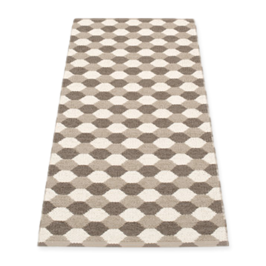 Pappelina Dana Rug Dark Mud and Vanilla 70 x 160cm