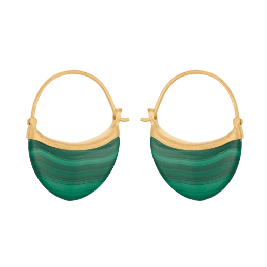 Pernille Corydon Malachite Earrings Small Gold