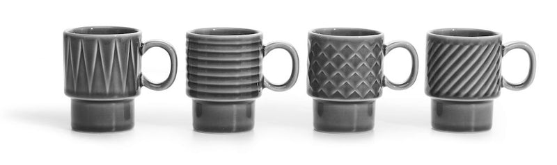Sagaform Coffee and More Espresso Mugs 4 Pack Grey