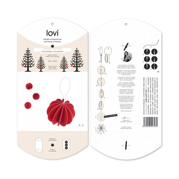 Lovi Original Bauble 8cm Red Set of 3