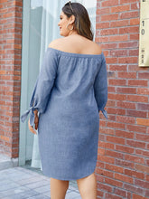 Load image into Gallery viewer, Plus Size Self-tie Design Off The Shoulder Long Sleeves Dress