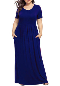 Short Sleeve Casual Plus Size Maxi Dress with Pockets