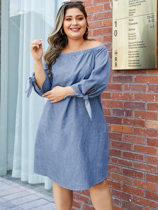 Plus Size Self-tie Design Off The Shoulder Long Sleeves Dress