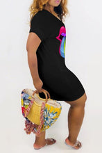 Load image into Gallery viewer, Colorful Lip Plus Size Mini Dress