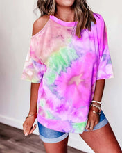 Load image into Gallery viewer, Tie Dye One Shoulder T-shirt
