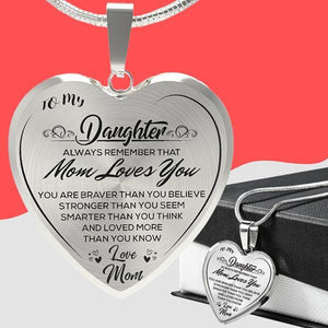 To My Daughter (Love Dad/Mom) Heart Necklace