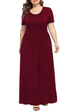 Load image into Gallery viewer, Short Sleeve Casual Plus Size Maxi Dress with Pockets