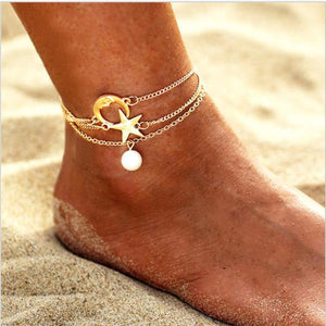 Women Fashion Star&Moon Anklets