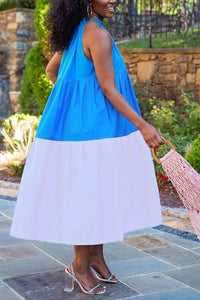 Color Block Sleeveless Ruffle Maxi Dress