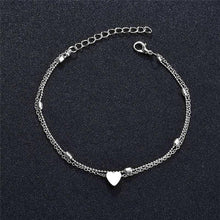 Load image into Gallery viewer, Women Simple Heart Anklet Double Layer Chain Sexy Foot Anklet