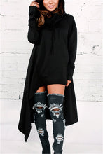 Load image into Gallery viewer, Asymmetric Hem Hooded Dress Top