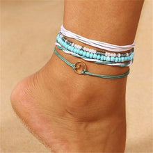 Load image into Gallery viewer, 5pc/set Multi Layered Turquoise Chains Beach Anklet Foot Bracelet Set Ankle Jewelry