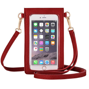 New Touchscreen Waterproof Leather Crossbody Phone Bag