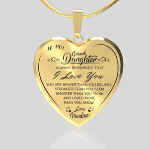 To My Grand Daughter (Love Grandma) Heart Necklace