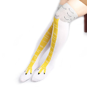 Creative Chicken Claw Funny Print Knee High Socks